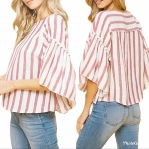 Listicle Bell-Sleeve Striped Top